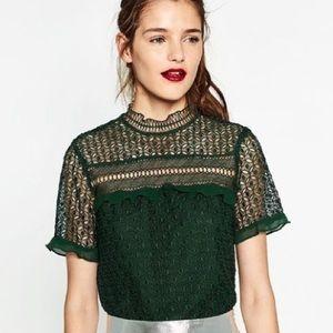 Zara Green Lace Top Medium